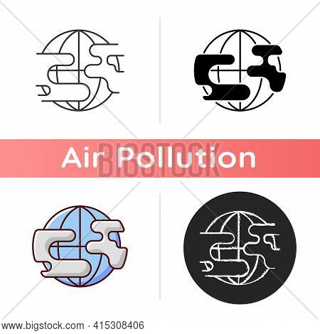 Polluted Planet Icon. Damaging Planet Nature Where All Humanity Lives. Dangerous Pollution Level. Li