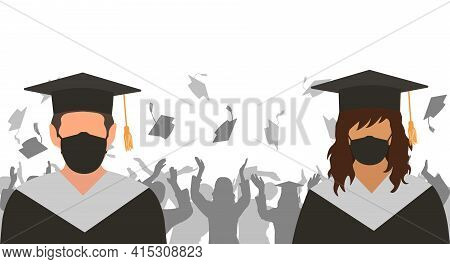 Graduates Boy And Girl In Medical Protective Mask Observant Social Distance On Background Of Cheerfu