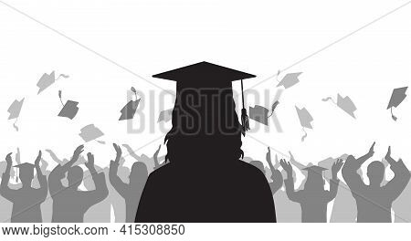 Silhouette Graduate Girl On Background Of Cheerful Group People Throwing Mortarboard. Graduation Cer