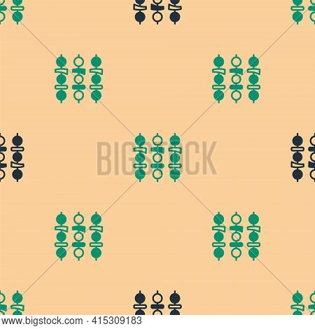 Green And Black Grilled Shish Kebab On Skewer Stick Icon Isolated Seamless Pattern On Beige Backgrou