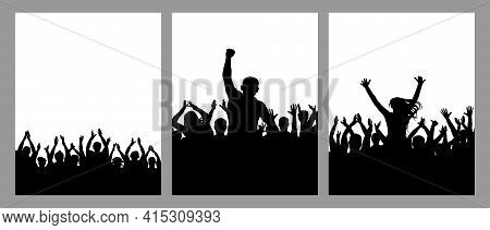 Silhouette Of Crowd People, Set Of Vertical Poster. Applauding People, Cheering Crowd, Leader. Vecto