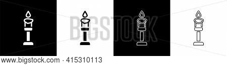 Set Burning Candle Icon Isolated On Black And White Background. Cylindrical Aromatic Candle Stick Wi