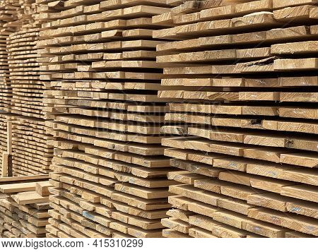 Close Up Of Wooden Boards. Texture Of Industrial Natural Timber Building Materials On Building Site.