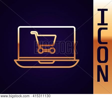 Gold Line Shopping Cart On Screen Laptop Icon Isolated On Black Background. Concept E-commerce, E-bu