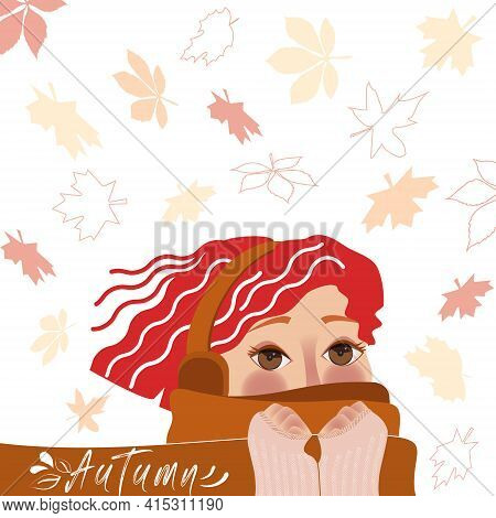A Pretty Young Girl Hides Her Face In A Scarf. Autumn, Cold Weather, Falling Autumn Leaves.