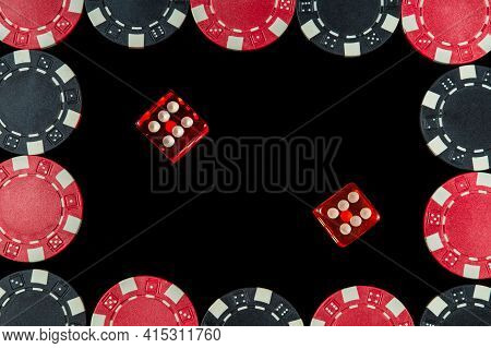 Red Dice With A Maximum Winning Combination Of Twelve In Craps On A Black Table And Chips