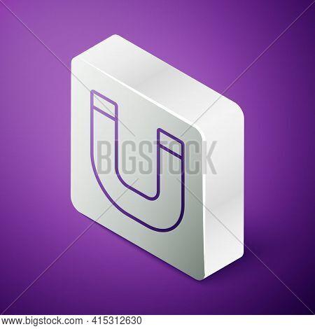Isometric Line Magnet Icon Isolated On Purple Background. Horseshoe Magnet, Magnetism, Magnetize, At