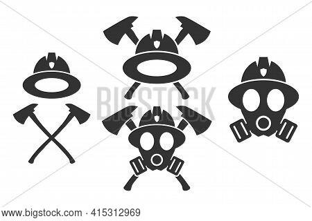 Firefighter. Emblem Set. Flat Style Element For Graphic Design. Vector Eps10 Illustration.