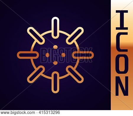 Gold Line Naval Mine Icon Isolated On Black Background. Sea Bomb. Vector