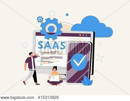 Cloud Software Abstract Concept Vector Illustration Set. Saas Technology, Cloud Computing Security,