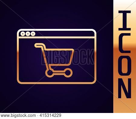 Gold Line Online Shopping On Screen Icon Isolated On Black Background. Concept E-commerce, E-busines