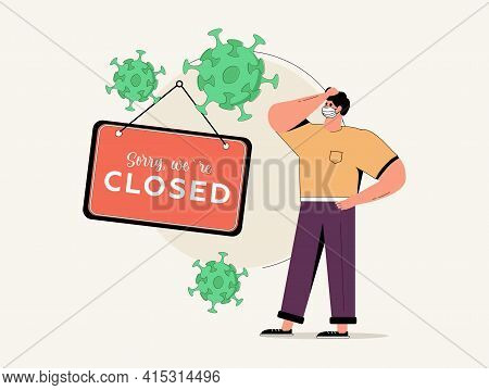 Coronavirus Covid-19 Social Distancing Impact On Entrepreneur Or Small Business Shop To Closed With