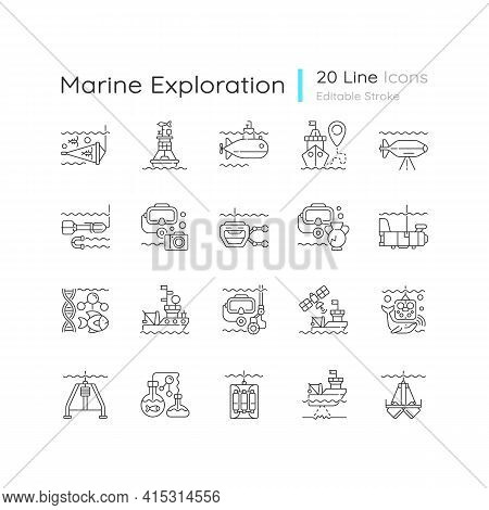 Marine Exploration Linear Icons Set. Increasing Knowledge Of Marine Animals. Discovering World Natur