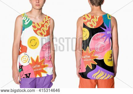 Aesthetic and colorful printed tank tops for teenage apparel studio shoot