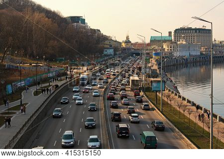 Kyiv, Ukraine-march 27, 2021: Concept Of Traffic Jams In The Big City. Traffic Jam With Rows Of Cars