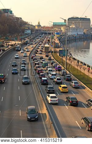 Kyiv, Ukraine-march 27, 2021: Automobile Collapse At The Highway Along Dnipro River. Traffic Jam Wit