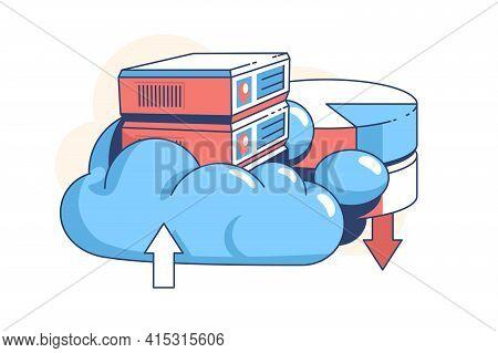 Data Cloud Storage Vector Illustration. Digital Service
