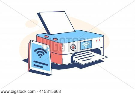 Printer Machine At Work Vector Illustration. Electronic