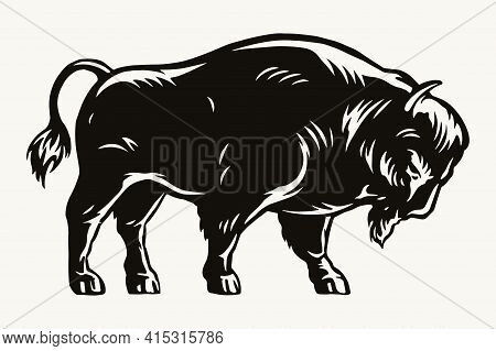Big American Bison Template In Vintage Monochrome Style Isolated Vector Illustration