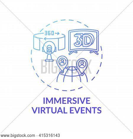 Immersive Virtual Events Concept Icon. Virtual Sessions Type Idea Thin Line Illustration. Communicat