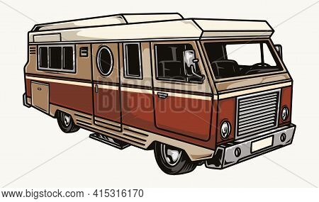Colorful Camper Van Template In Vintage Style Isolated Vector Illustration