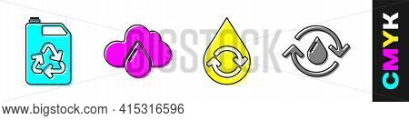 Set Eco Fuel Canister, Cloud With Rain, Recycle Clean Aqua And Recycle Clean Aqua Icon. Vector