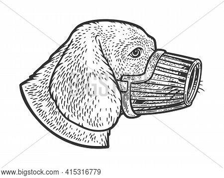 Muzzled Dog Sketch Engraving Vector Illustration. T-shirt Apparel Print Design. Scratch Board Imitat