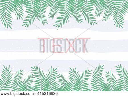 Vector Illustration With Tropical Palm Branches On Striped Background  For Greeting Card And Party I
