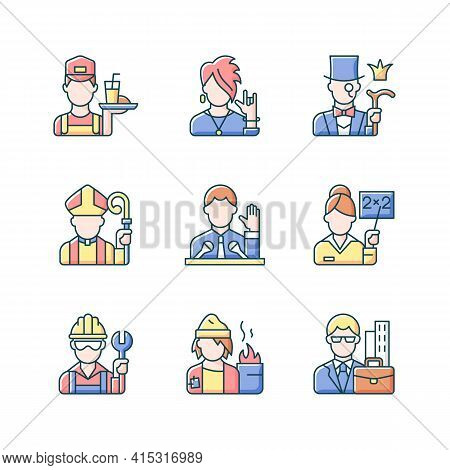 Social Class Rgb Color Icons Set. Working Poor. Subculture Group. Aristocratic Elite. Clergy Status.