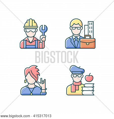 Social Classification Rgb Color Icons Set. Blue And White Collar Workers. Subculture Group. Intellig