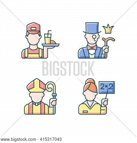 Social Class Type Rgb Color Icons Set. Working Poor. Aristocratic Elite. Clergy, Pink Collar. People