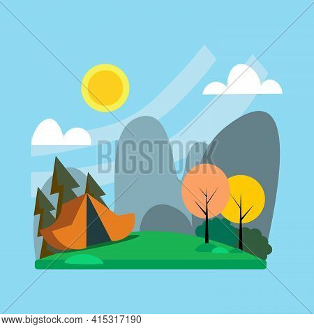 Summer Camping Design. Camping Theme. Landscape With A Tent And Nature. Flat Vector Illustration.