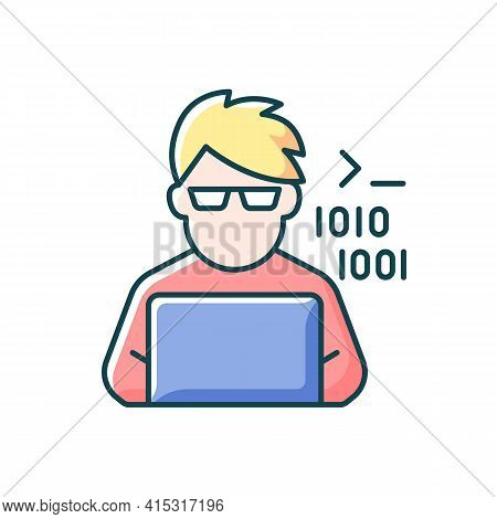 Programmer, Computer Expert Rgb Color Icon. Man Coding On Laptop. Freelance Software Developer At Wo