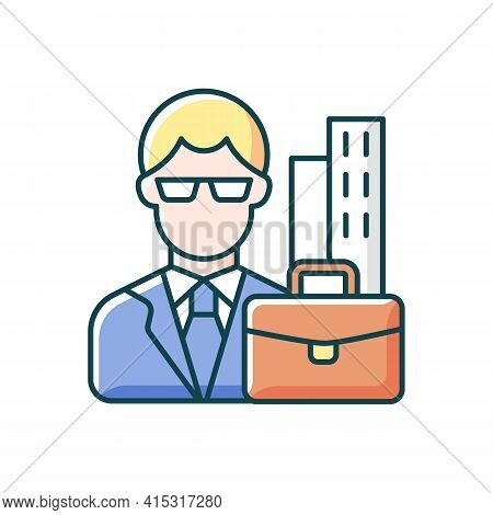 White Collar Worker Rgb Color Icon. Professional Businessman, Executive Management Employee. Office