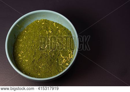 Mate Herb (ilex Paraguariensis) Ground In Ceramic Container For Culinary And Medicinal Use
