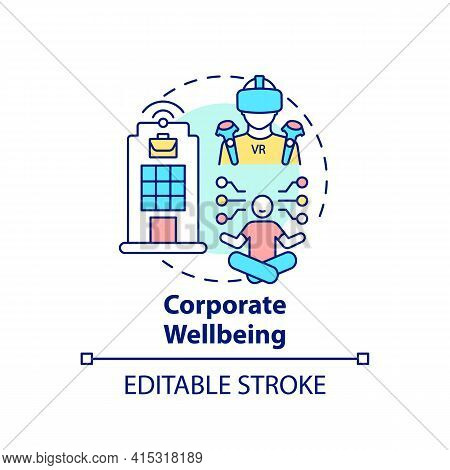 Corporate Wellbeing Concept Icon. Future Office Design Idea Thin Line Illustration. Improving Work L