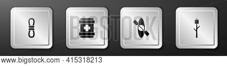 Set Climber Rope, First Aid Kit, Kayak Or Canoe And Marshmallow On Stick Icon. Silver Square Button.