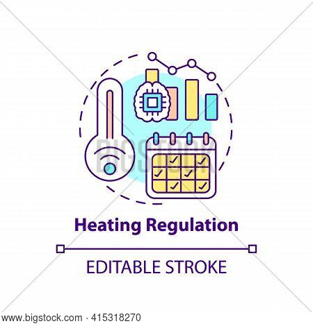 Heating Regulation Concept Icon. Smart Office Idea Thin Line Illustration. Maintaining Reasonable Te