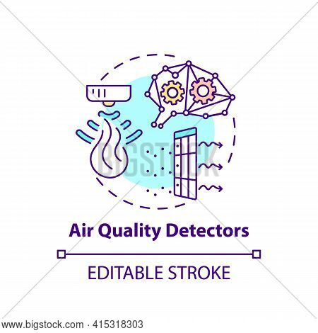 Air Quality Detectors Concept Icon. Smart Office Idea Thin Line Illustration. Air-conditioning, Vent