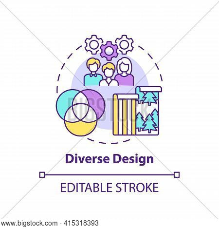 Diverse Design Concept Icon. Workspace Trend Idea Thin Line Illustration. Different Approach For Uni