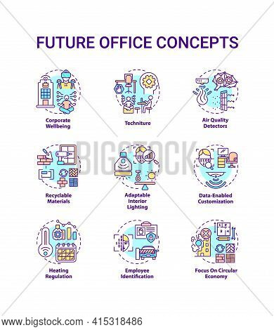 Future Office Concept Icons Set. Corporate Wellbeing Idea Thin Line Rgb Color Illustrations. Technit