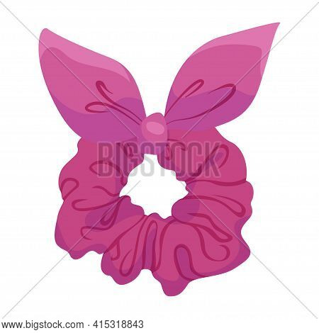 Bright Pink Female Scrunchy Vector Flat Illustration. Hairband For Woman Stretching Hair Accessory