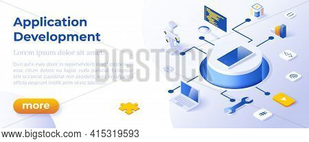 Application Development - Isometric Design In Trendy Colors Isometrical Icons On Blue Background. Ba