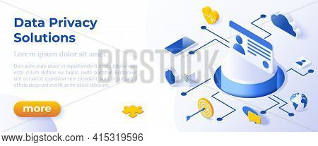 Data Privacy Solutions - Isometric Design In Trendy Colors Isometrical Icons On Blue Background. Ban