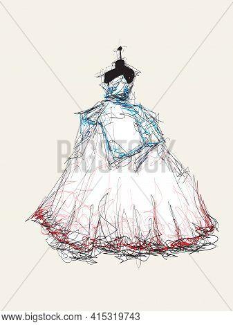 Wedding Dress On A Mannequin. Fashion Illustration