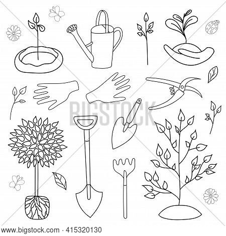 Hand Drawn Set Arbor Day In Style Outline Doodle. Graphics Sketch Trees, Garden Tools. Vector Illust