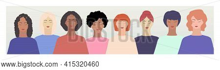 Women's Diverse Faces, Different Ethnicity And Hairstyle. Vector Illustration, Banner, Or Poster. Wo