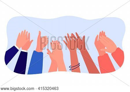 Cartoon Diverse People Hands Applauding Flat Vector Illustration. Multinational Audience Expressing