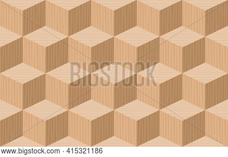Cube Pattern. Three Dimensional Wooden Cubes, Seamless Parquetry Textured Background. Vector Illustr