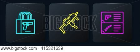 Set Line Buying Gun Pistol, Weapon Catalog And Mp9i Submachine. Black Square Button. Vector